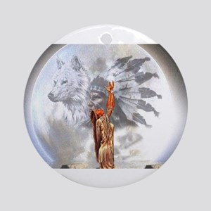 The Moon Vision Chief Wolf Indian G Round Ornament